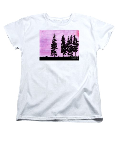 Women's T-Shirt (Standard Cut) featuring the drawing Colorful - Alaska - Sunset by D Hackett