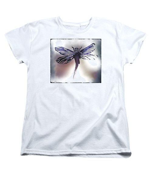 Women's T-Shirt (Standard Cut) featuring the painting Alcohol Inks Purple Dragonfly by Danielle  Parent