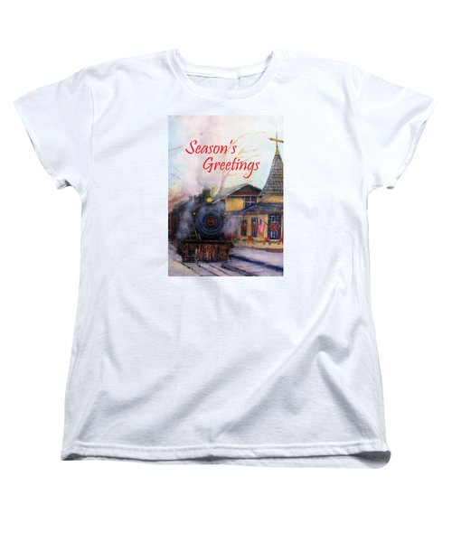 All Aboard At The New Hope Train Station Card Women's T-Shirt (Standard Cut) by Loretta Luglio