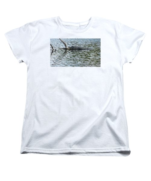 Women's T-Shirt (Standard Cut) featuring the photograph Alligator Resting On A Log by Ron Davidson