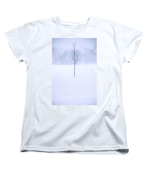Women's T-Shirt (Standard Cut) featuring the photograph Alone In The Snow by Andrew Soundarajan