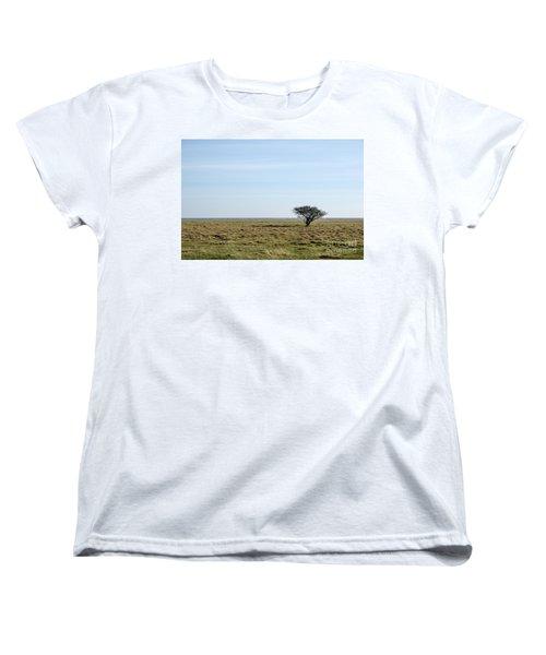 Women's T-Shirt (Standard Cut) featuring the photograph Alone Tree At A Coastal Grassland by Kennerth and Birgitta Kullman