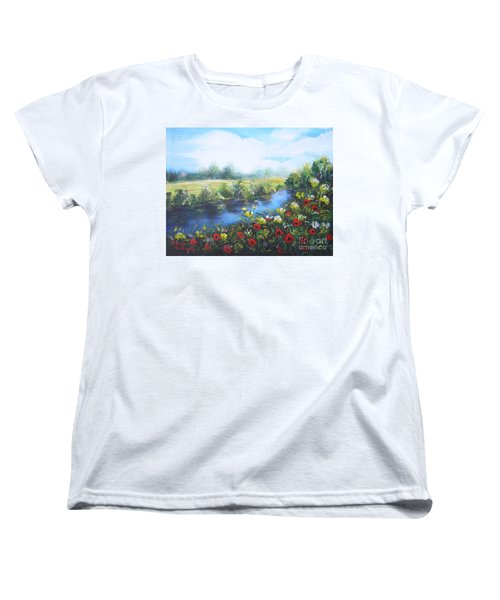 Women's T-Shirt (Standard Cut) featuring the painting Along The Poppy Valley by Vesna Martinjak