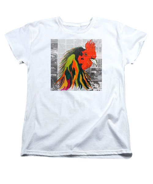 Women's T-Shirt (Standard Cut) featuring the painting Amadeo The Tuscan Rooster by Janice Rae Pariza
