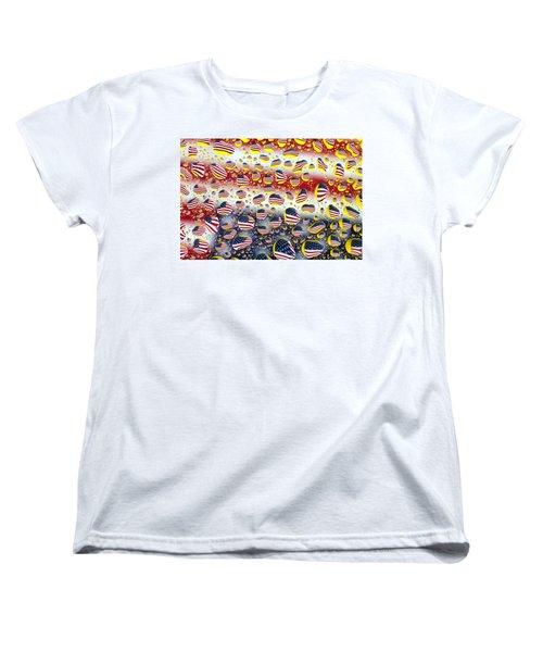 American Flag In Water Drops Women's T-Shirt (Standard Cut) by Paul Ge