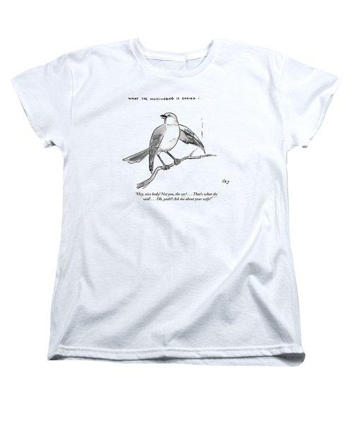 An Incendiary Mockingbird Is Depicted Women's T-Shirt (Standard Cut) by Carolita Johnson
