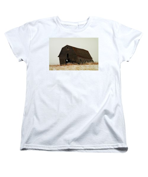 An Old Leaning Barn In North Dakota Women's T-Shirt (Standard Cut) by Jeff Swan