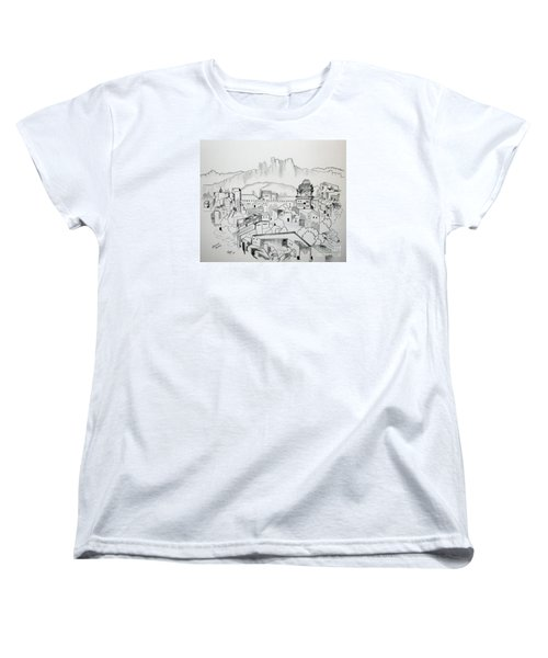 Women's T-Shirt (Standard Cut) featuring the drawing Ancient City In Pen And Ink by Janice Rae Pariza