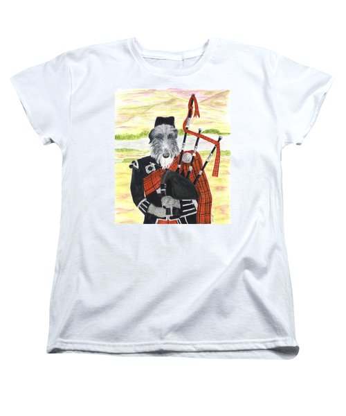 Women's T-Shirt (Standard Cut) featuring the painting Angus The Piper by Stephanie Grant