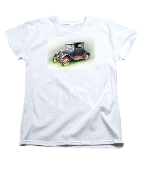 Women's T-Shirt (Standard Cut) featuring the painting Antique Car by Bonnie Willis