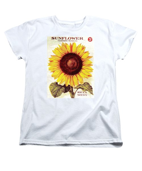 Women's T-Shirt (Standard Cut) featuring the painting Antique Sunflower Seeds Pack by Peter Gumaer Ogden
