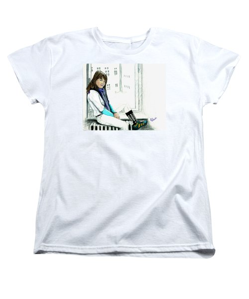 Women's T-Shirt (Standard Cut) featuring the drawing Antonela In The Window by Albert Puskaric