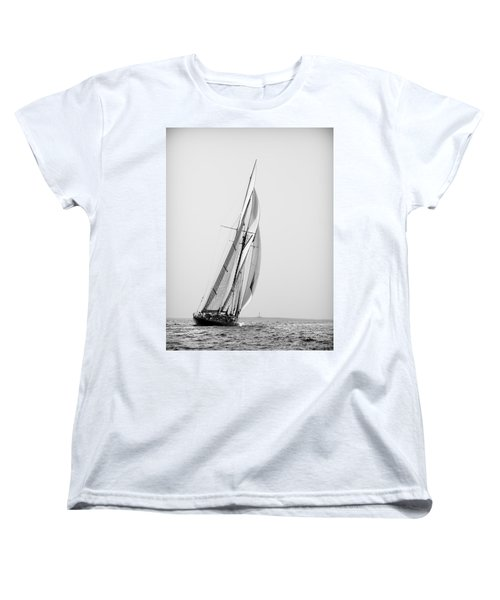 A Tall Ship In Mediterranean Water Approaching To Lighthouse Of Isla Del Aire - Menorca Women's T-Shirt (Standard Cut)