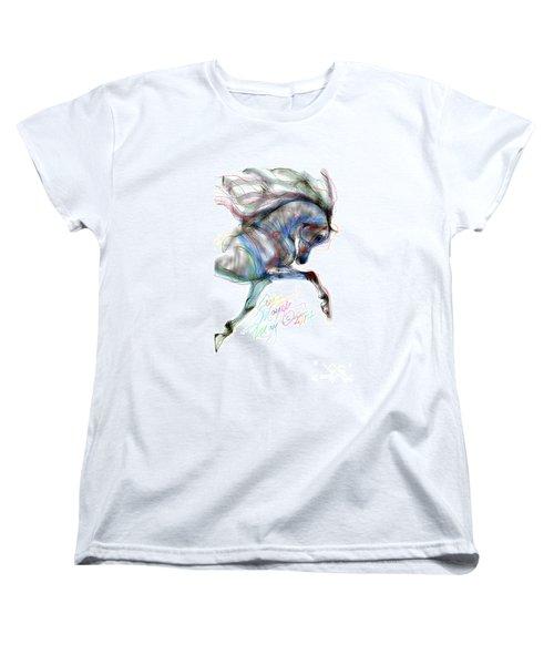 Arabian Horse Trotting In Air Women's T-Shirt (Standard Cut) by Stacey Mayer