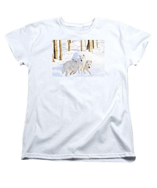 Arctic Wolves Women's T-Shirt (Standard Cut) by Cheryl Baxter