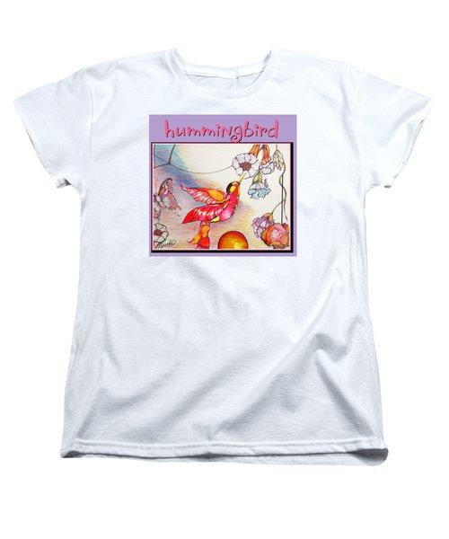 Women's T-Shirt (Standard Cut) featuring the drawing Hummingbird And Flower by Brooks Garten Hauschild