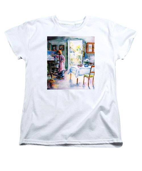 Women's T-Shirt (Standard Cut) featuring the painting Artist At Work In Summer  by Trudi Doyle