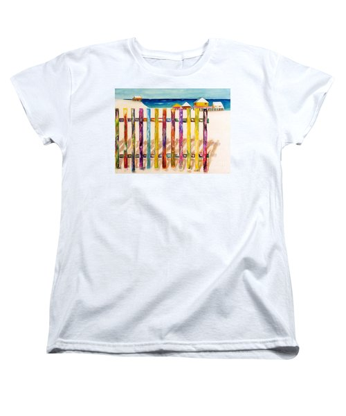 At The Beach Women's T-Shirt (Standard Cut) by Frances Marino