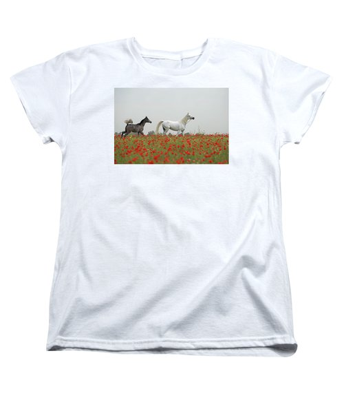 Women's T-Shirt (Standard Cut) featuring the photograph At The Poppies' Field... 2 by Dubi Roman