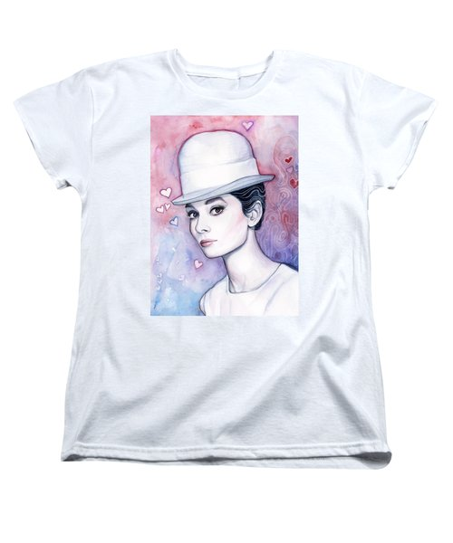 Audrey Hepburn Fashion Watercolor Women's T-Shirt (Standard Cut) by Olga Shvartsur