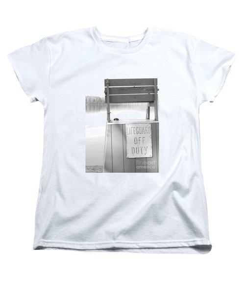 Autumn At White Lake Bw Women's T-Shirt (Standard Cut) by Barbara Bardzik