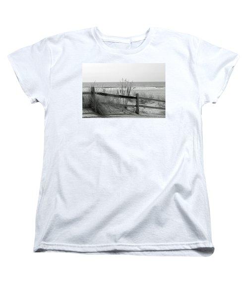 Women's T-Shirt (Standard Cut) featuring the photograph B And W Beach by Greg Graham