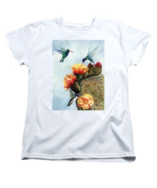 Baby Makes Three Women's T-Shirt (Standard Cut) by Marilyn Smith