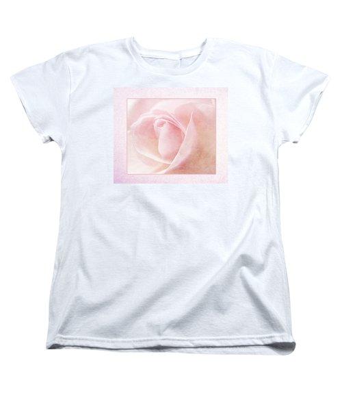 Baby Pink Rose Women's T-Shirt (Standard Cut) by Lynn Bolt