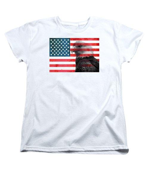 Bald Eagle American Flag Women's T-Shirt (Standard Cut) by Dan Sproul