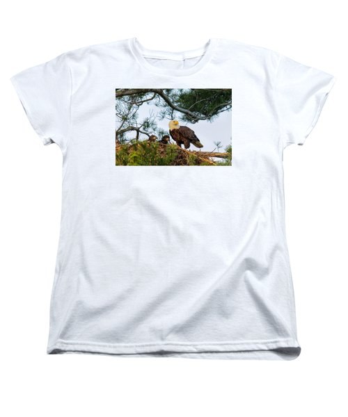 Bald Eagle With Eaglets  Women's T-Shirt (Standard Cut) by Everet Regal