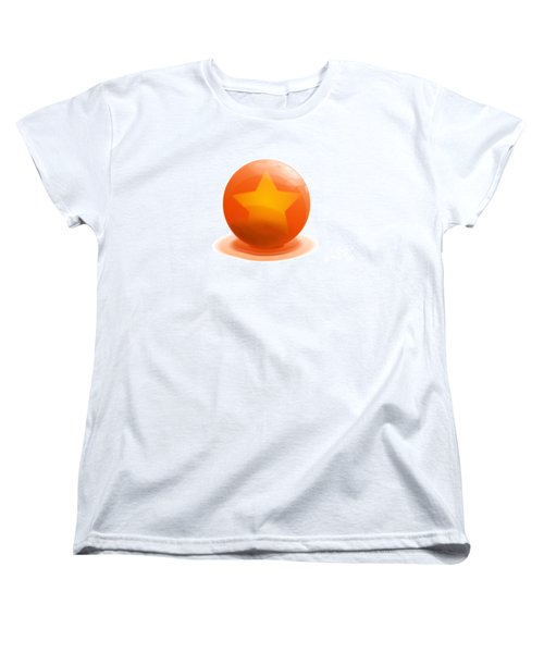 Women's T-Shirt (Standard Cut) featuring the sculpture orange Ball decorated with star white background by R Muirhead Art