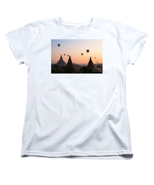 Ballons Over The Temples Of Bagan At Sunrise - Myanmar Women's T-Shirt (Standard Fit)
