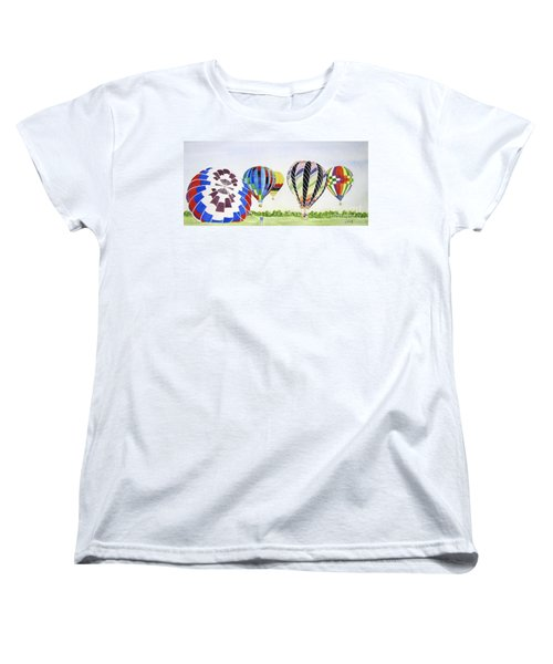 Women's T-Shirt (Standard Cut) featuring the painting Balloons by Carol Flagg