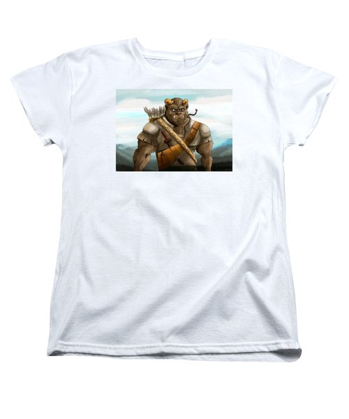 Women's T-Shirt (Standard Cut) featuring the painting Baragh The Hoargg Warrior by Reynold Jay