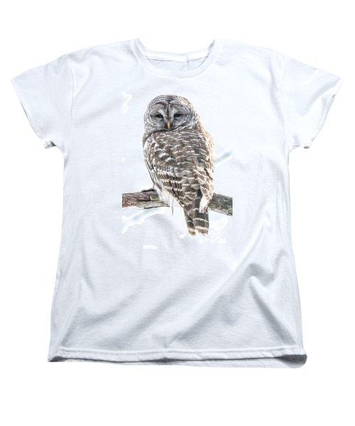 Barred Owl2 Women's T-Shirt (Standard Cut) by Cheryl Baxter