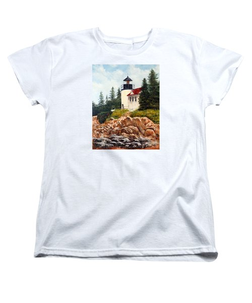 Women's T-Shirt (Standard Cut) featuring the painting Bass Harbor Head Light by Lee Piper