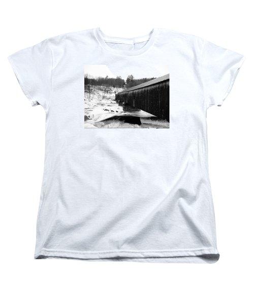 Bath Covered Bridge Women's T-Shirt (Standard Cut) by Barbara Bardzik
