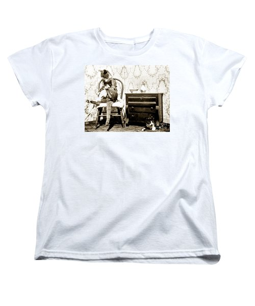 Women's T-Shirt (Standard Cut) featuring the photograph Bath Time For Kitty Circa 1900 Historical Photos by California Views Mr Pat Hathaway Archives