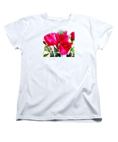 Beautiful Neon Red Roses Women's T-Shirt (Standard Cut) by Belinda Lee