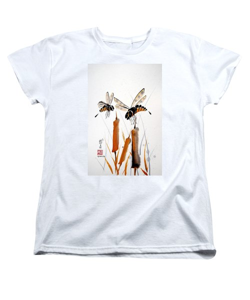 Women's T-Shirt (Standard Cut) featuring the painting Bee-ing Present by Bill Searle