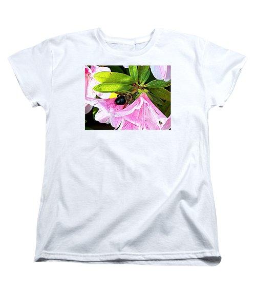 Bee On  Pink Azalea Women's T-Shirt (Standard Cut) by Kathy  White
