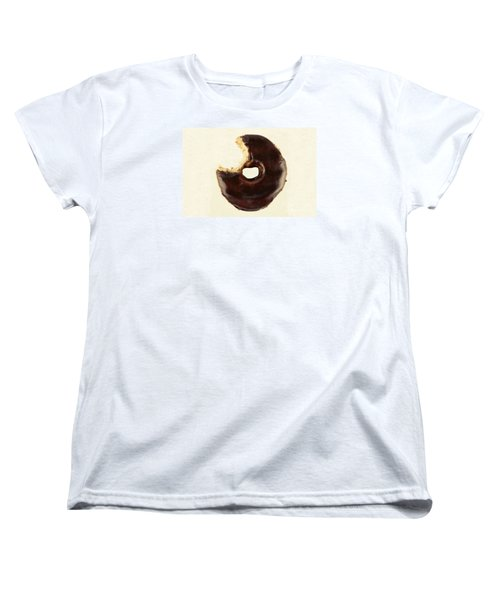 Women's T-Shirt (Standard Cut) featuring the photograph Chocolate Donut With Missing Bite by Vizual Studio