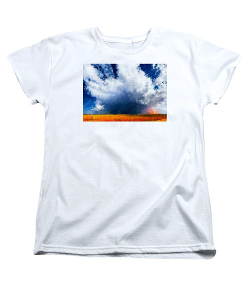 Women's T-Shirt (Standard Cut) featuring the painting Big Cloud In A Field by Bruce Nutting