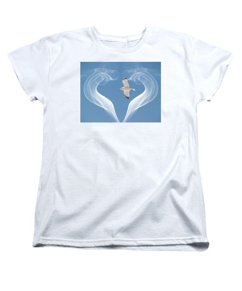Women's T-Shirt (Standard Cut) featuring the photograph Bird In Flight by Athala Carole Bruckner