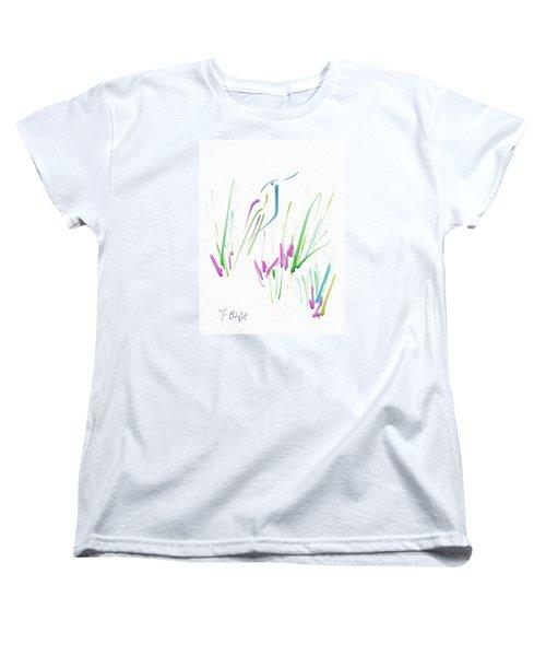 Women's T-Shirt (Standard Cut) featuring the digital art Bird In The Grass by Frank Bright