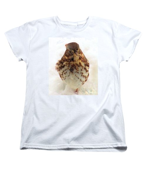 Women's T-Shirt (Standard Cut) featuring the photograph Fox Sparrow In Snow by Janette Boyd