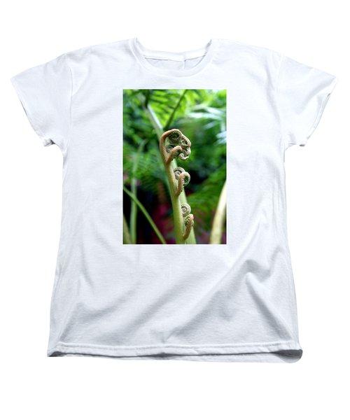 Birth Of A Fern Women's T-Shirt (Standard Cut) by Debi Demetrion