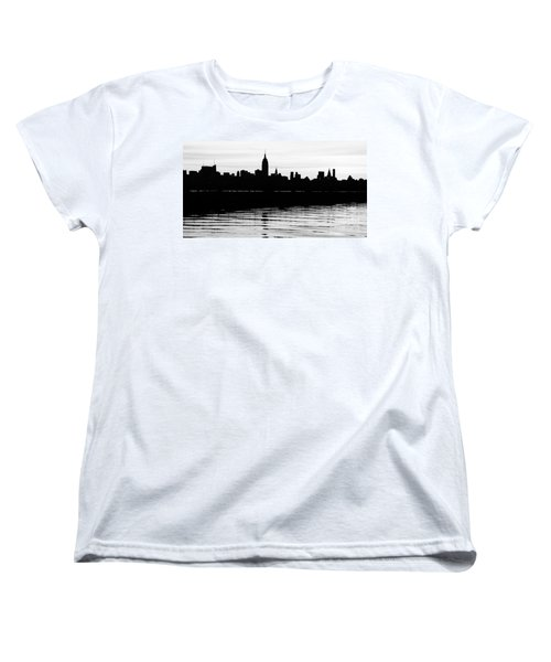 Women's T-Shirt (Standard Cut) featuring the photograph Black And White Nyc Morning Reflections by Lilliana Mendez
