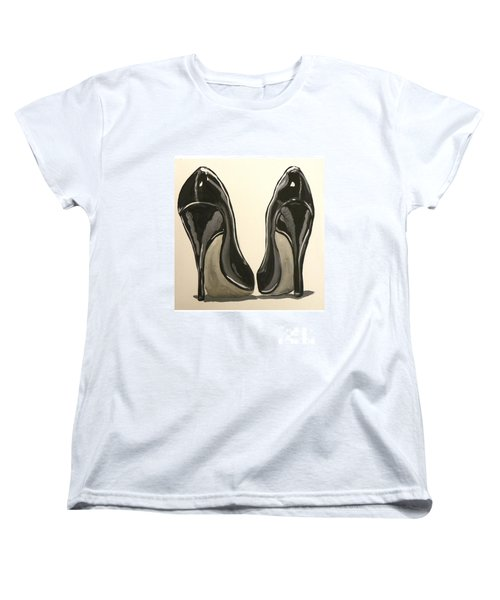 Women's T-Shirt (Standard Cut) featuring the painting Black Pumps by Marisela Mungia