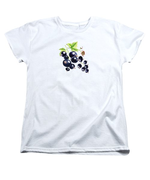 Women's T-Shirt (Standard Cut) featuring the painting Blackcurrant Berries  by Irina Sztukowski